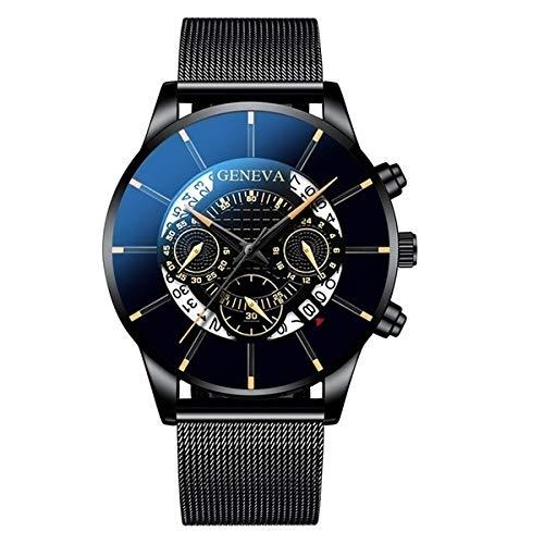 GKXAZ Herrenuhr Edelstahl-Kalender-Quarz-Armbanduhr-Mann-Sport-Uhr-Taktgeber Genf Uhr Stunden (Color : Black o)