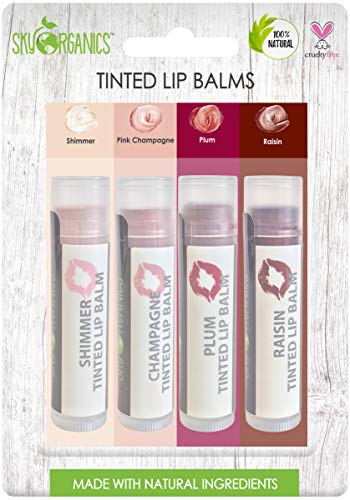 Organic Tinted Lip Balm by Sky Organics – 4 Pack Assorted Colors –- with Beeswax, Coconut Oil, Cocoa Butter, Vitamin E- Minty Lip Plumper for Dry, Chapped Lips- Tinted Lip Moisturizer. Made in USA