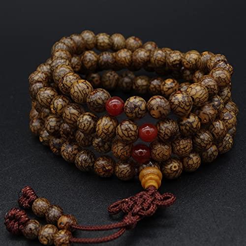 YZDKJ Budismo Tibetano de 8 mm 108 Bodhi de Oro Bodhi Perlas de oración Collar