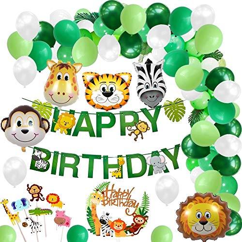 Layal Design Dschungel Tiere Safari Party Deko Set | Geburtstagsdeko Geburtstagsdekoration Geburtstag Geburtstags Birthday Kindergeburtstag | Girlande Luftballons Folienballons