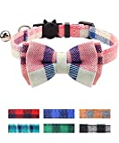 Joytale Breakaway Cat Collar with Cute Bow Tie and Bell, Plaid Patterns, 1 Pack Kitty Safety Collars,Pink