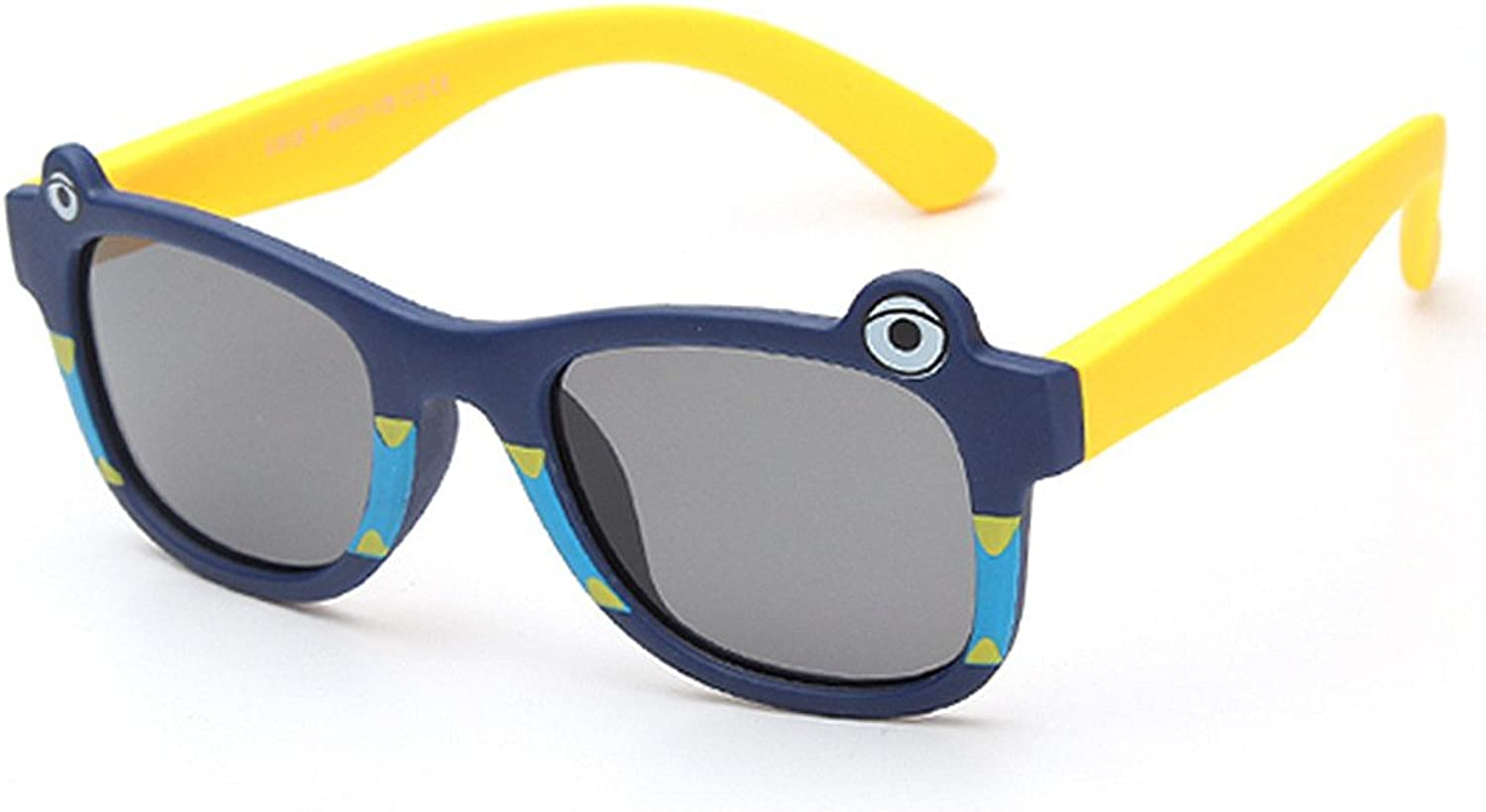 Cute Cartoon Shark Design Flexible Kids Sunglasses Polarized Lenses UV Predection Boys and Girls Age 3 to 12 with Gift Box (color   C12)