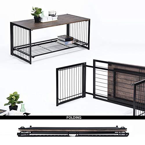 Mueble de Centro de Estilo Vintage, Industrial, veteado de Madera y Estructura de Metal, para salón, Cocina, Dormitorio, 100 x 50 x 45 cm