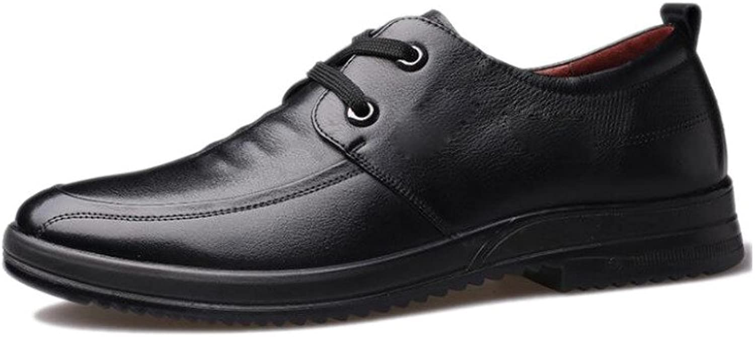 ASJUNQ Men's Leather shoes Casual Round Soft Pointed,Black-43