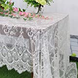 Lace-Tablecloth-Rectangular 60x120-Inch White Rectangle Overlay Tea Tablecloth Lace Tablecloths Long Rectangular Tablecloth Lace Tablecloth 60 Table Floral Embroidery Lace Table Cloths Decoration