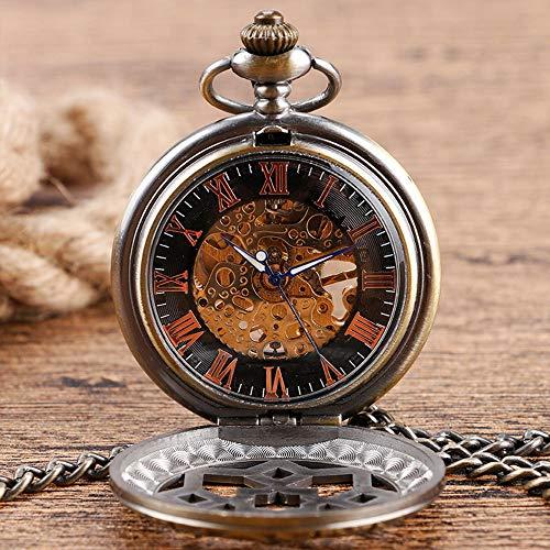 Zulux Mechanische Taschen-Uhr-Traum Drachen Skeleton Halber Jäger-Doppelt-geöffnete Silber Bronze-Schwarz-Fall