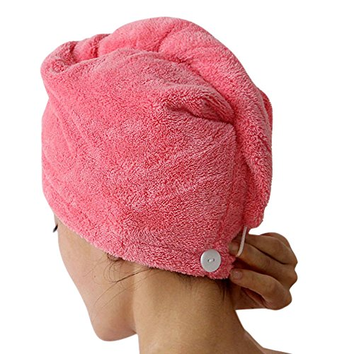 CHIC-CHIC 1pc Haartrockentuch Haarhandtuch Haar Turban Aufsetzen Einwickeln Zuknöpfen Haarpunzel weich bequem Wasseraufnahme (Rosa Rot)