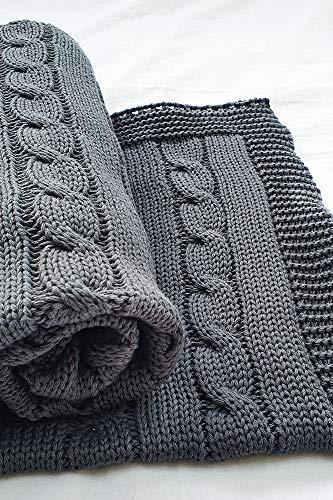 Wallaboo Babydecke Noa, Kuscheldecke, Strickdecke aus 100% Bio Baumwolle, 70x90 cm, Made in germany, Farbe: Grau