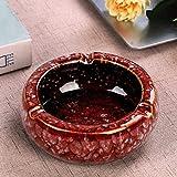 Cenicero retro de cerámica para el hogar, cenicero redondo grande para interiores y exteriores, cenicero decorativo de escritorio, rojo profundo