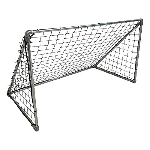 Tube Clamp Football Goal Kit from 33.7mm Galvanised Tube and Clamps - Complete with 6ft x 4ft Net - All Weather Kids Garden Football Goal