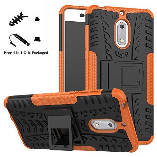 LiuShan Nokia 6 Coque, Shockproof Robuste Impact Armure Hybride Béquille Housse Coque Étui Couverture pour Nokia 6 Smartphone (4 en 1 Cadeau emballé),Orange