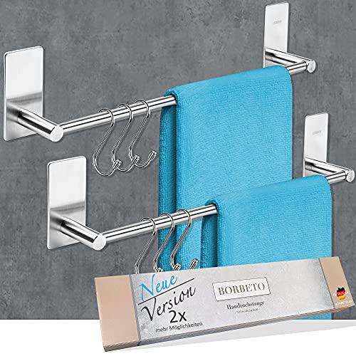 [2X] BORBETO® Handtuchstange [43cm] - OHNE Bohren - MARKENKLEBER - Hochwertige Edelstahloptik - [3] Handtuchhaken - Handtuchhalter ohne Bohren für Küche und Bad - Küchentuchhalter selbstklebend