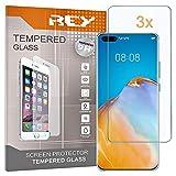 REY Pack 3X Panzerglas Schutzfolie für Huawei P40 PRO, Bildschirmschutzfolie 9H+ Festigkeit, Anti-Kratzen, Anti-Öl, Anti-Bläschen