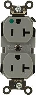 Leviton 8300-GY 20 Amp, 125 Volt, Extra Heavy Duty Hospital Grade, Duplex Receptacle, Straight Blade, Self Grounding, Gray