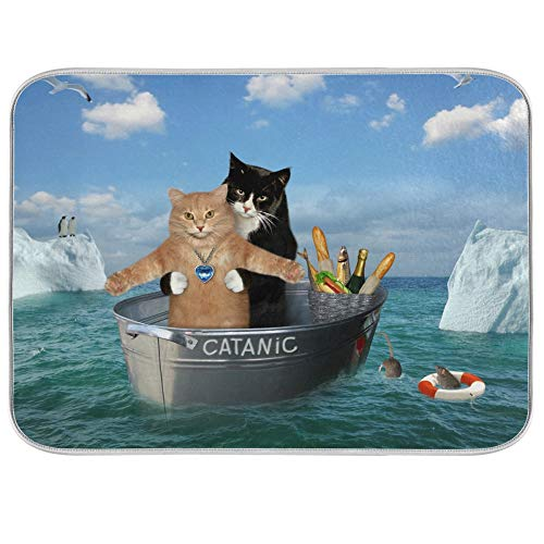 Kitchen Dish Drying Mat Absorbent Water Insulation Dinnerware Protective Pad Dishes Rack Mat Coffee Machine Mat Bathroom Counter Mats Medium Two Brave Cats Are Floating On The Sea Iceberg 16x18 inch