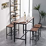 Bonnlo 5 Pieces Dining Set Pub Table Set Counter Height Bar Table with 4 Bar Stools Kitchen Pub Dining Table Set with Metal Frame,Walnut Brown