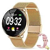 GOKOO Reloj Inteligente Mujer Smartwatch Bluetooth Rastreador de Fitness Pulsómetros Monitor de Sueño IP67 Impermeable Reloj Deportivo Compatible con Android iOS,Regalo del Dia de la Madre