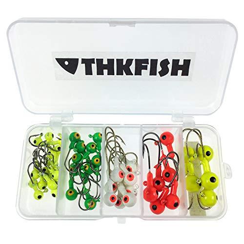thkfish Fishing Jig Heads Fishing Hooks Jig Heads Fishing Lure Bait Crappie Bass Trout Fishing Tackle Kit 44pcs