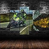 UIOJH Impresión 5 Piezas Cuadro En Lienzo Personalizado Modernos Murales Pared Moto GP Kawasaki Ninja Race Bike Modular Canvas Prints Oficina Salón Pared Decoracion Enmarcado 150x80cm