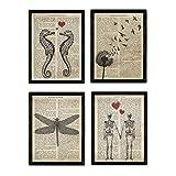 Nacnic Set de 4 láminas de Enciclopedia Vintage con Caballito de Mar, Diente de León, Libélula y Pareja de Esqueletos. Tamaño A4. Sin Marco.