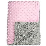 BlueSnail Baby Minky Blanket with Plush Shepra Fleece Layer for Boys and Girls (Pink+Light Gay, 30W x 40L)