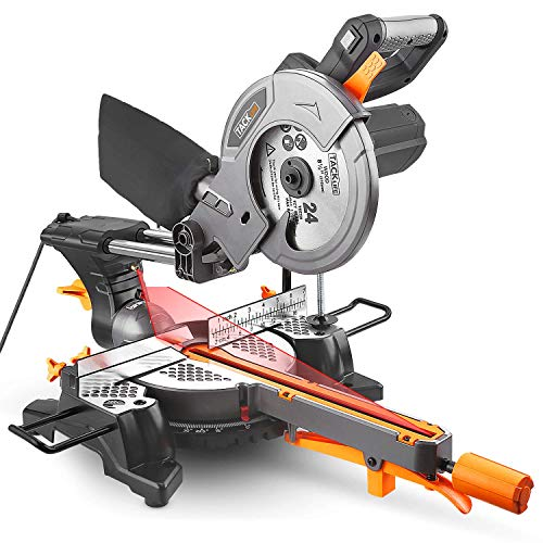 Mitre Saw, TACKLIFE 230mm Sliding Miter Saw, Saw Blade inclination 0 ° -45 °, Turntable Turn 45 ° L & R, 1500W, Quick-Release Clamps, dust Bag/ PMS01X