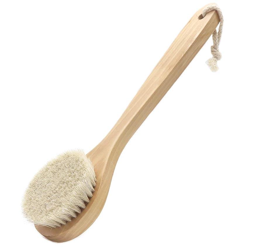 男やもめ午後安息Maltose ボディブラシ 馬毛 身体洗い 中長柄付き ボディー お風呂 体洗う 背中洗いブラシ 超柔らかい マッサージブラシ