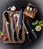 Executive Japanese Knife Set 7 Piece with Knife Block and Diamond Honing Rod Damascus 67 Layer AUS410 VG10 Core Ultra Sharp - Wulff Den Deli