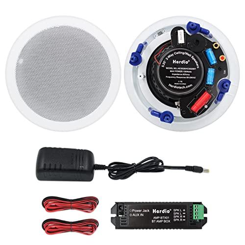 Herdio 5,25 Zoll Deckenlautsprecher, 300 Watt Bluetooth Einbaulautsprecher, Bündige Montage Sound, Perfekt für Innen und Außenbereich, Schlafzimmer, Badezimmer, Heimkino, Veranden (2 Lautsprecher)