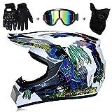 TKUI Casco de Moto Casco de Moto Casco de Moto Femenino Gafas de Malla Guantes de máscara/Casco de Bicicleta de montaña Rockstar Casco Todoterreno para Adultos Enduro,XL(58~59cm)