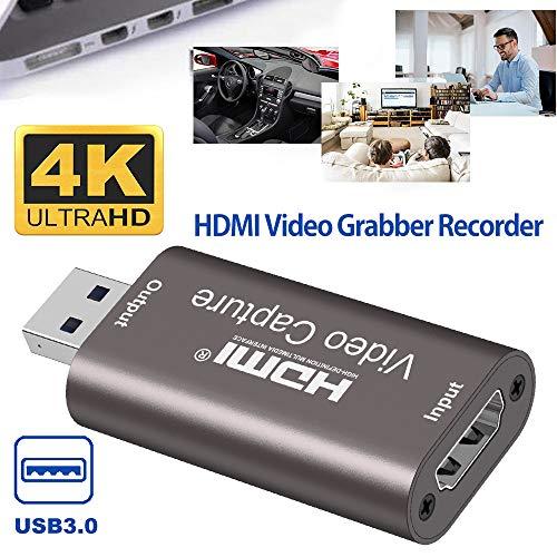 HDMI Capture Card Video Aufnahmekarte 1080p USB 3.0 60Hz Aufzeichnung, Game Capture Card, Tragbarer Plug & Play Capture Karte, Videoaufzeichnung Live-Übertragungen