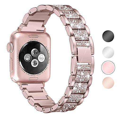 Aottom Compatible con Correa Apple Watch 5 44mm, Correas de Acero Inoxidable, Correa Apple Watch SE 6 5 4 3 2 1, Pulsera Ajustable, Correas Mujer para Diamand, Repuesto de Band para Correas 42mm 44mm