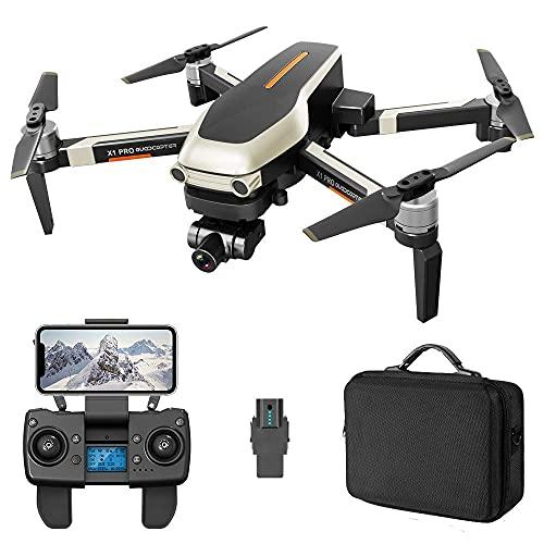 DCLINA Droni GPS Professionali scientifici con videocamera UHD 4K per Adulti, Distanza RC 1200 m, Gimbal stabilizzatore a Due Assi, quadricottero RC FPV WiFi 5GHz Live Video