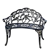 Patio Balcony Bench Double Seat, Anti-Rust Cast Aluminum Patio Garden Bench for Park Yard Outdoor Furniture Copper