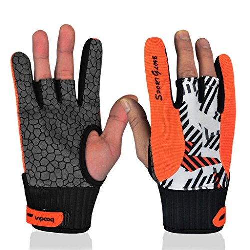 alkyoneus Professional Damen Herren Silikon Anti-Rutsch Angenehmes Fashion Bowling Handschuhe, Orange