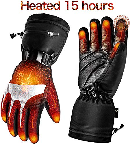 Battery Heated Gloves for Men Women,Rechargeable Electric Gloves Heating Gloves for Motorcycle,Ski,Hunting,Riding,Snowmobile(Black Dark, XL)