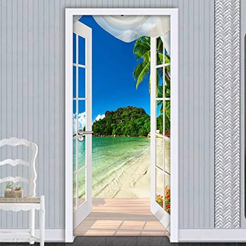 Türfolie Poster Tapete Landschaft Vor Dem Fenster Pvc Wasserdicht Selbstklebend Türaufkleber Wohnzimmer Schlafzimmer Tapete Kunst Aufkleber 95 * 215Cm