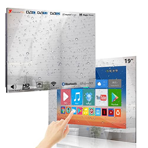 Haocrown 19-inch Waterproof Bathroom TV Smart Mirror Touchscreen LED Television with Android 9.0...