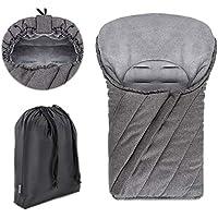 Zamboo - Saco de invierno DELUXE con forro polar térmico, capucha y bolsa para Sillas de Grupo 0+ (se adapta a Maxi-Cosi/Cybex/Römer) - color gris jaspeado