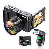 ZORNIK Cámara Digital 1080P, Cámara de Vídeo Ultra HD de 44 MP, con Lente de Gran Angular Ultra...