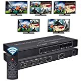Iseebiz HDMI 4X1 Quad Multi-Viewer, 1080P 4 in 1 Out HDMI Screen Splitter with Sound Switch 5 Modes, Seamless Switch for Game Studio, Exhibition Hall, Video Meeting, Stock Market, Display Mall etc.