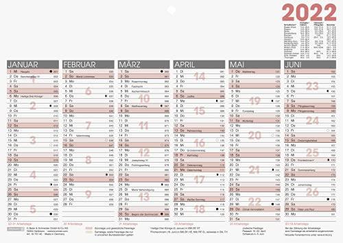 BRUNNEN 1070140002 Tischkalender/Tafelkalender A 4 Modell 701 40, 1 Seite = 6 Monate, kräftiger Karton, Kalendarium 2022