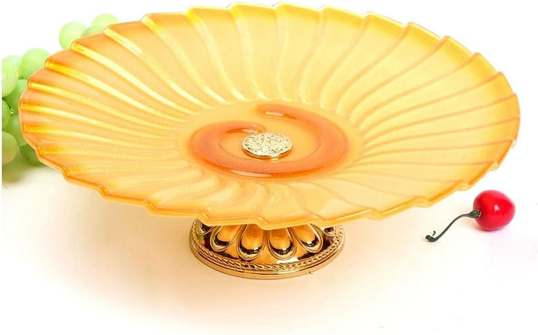 WENZHE Cristal européenne créativité de haute qualité plaque de fruits secs assiette de fruits Panier à Fruits (Couleur   Le jaune)
