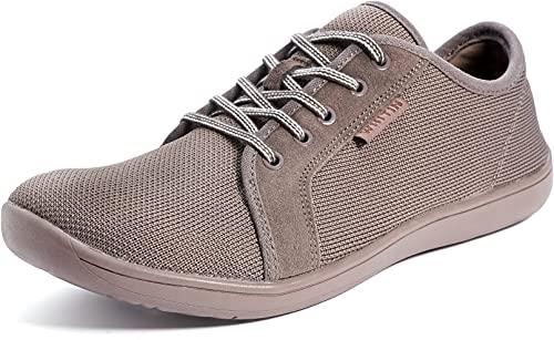 WHITIN Zapatillas Minimalista de Barefoot Trail Running Deportes Deportivas para Hombre Mujer Tejer Zapato Descalzo Correr Sneakers Fitness Gimnasio Calzado Asfalto Tenis Marrón 42