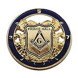 Prince Hall Shield Round Masonic Lapel Pin - [Blue & Gold][1 1/4'' Diameter]