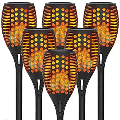 Solar Pathway Torch Lights with Flickering Flames, 6-Pack of OxyLED Outdoors Garden Path Light, Waterproof Landscape Lighting for Yard, Patio, Lawn, Porch, Wedding, Outsides Dinner, Party Decorations