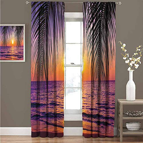 Tropical Decor Collection Room darkened curtain Sunset over the Ocean with Tropical Palm Trees Twilight Sundown Scenery Print Insulated room bedroom darkened curtains W52 x L54 Inch Purple Orange Bla