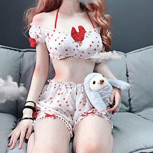 DSGTR Mono Pijamas de Encaje Traje de baño en General Ropa Interior de un tamaño Camisola Bordada Kawaii Pijamas de Fresa Ropa Interior niñas Disfraz de Cosplay Conjunto de Ropa Interior Linda Ropa i