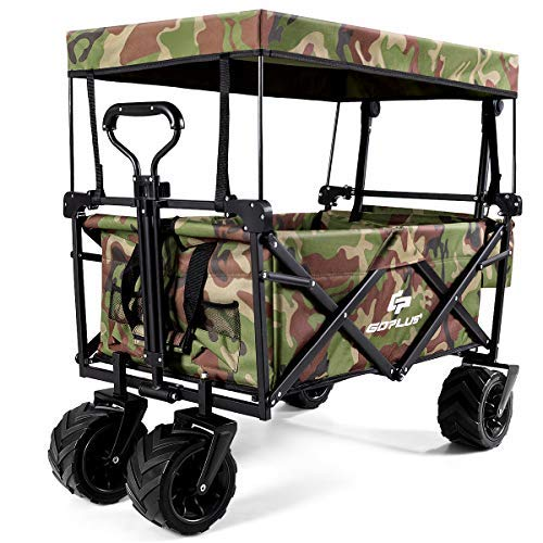 COSTWAY Folding Wagon Trolley Cart with Removable Canopy, Front Pocket, 4 Wheels, Push Pull Handle, Canvas Transport Utility Handcart for Shopping Camping Gardening Sporting Events (Camouflage)