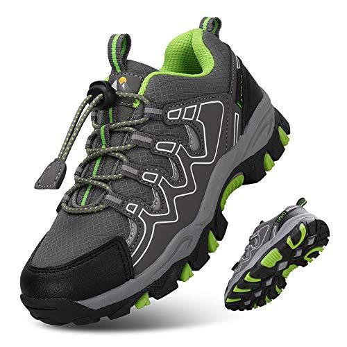 UOVO Turnschuhe Jungen Wanderschuhe Sneakers Kinder Trekking Schuhe Outdoor Sportschuhe Laufschuhe Grau 36